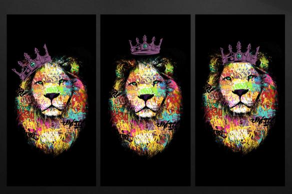 cadre triptyque lion violet