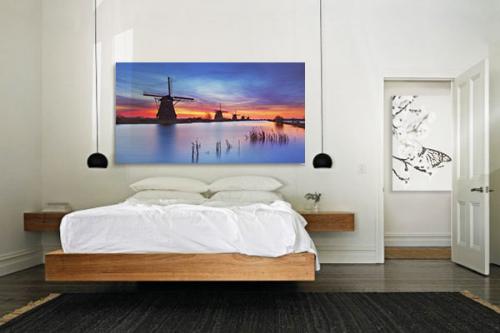 Tableau sur toile Moulin coucher de soleil