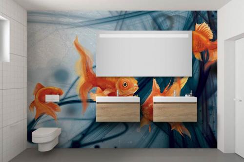 Papier peint salle de bain poissons rouges fond abstrait