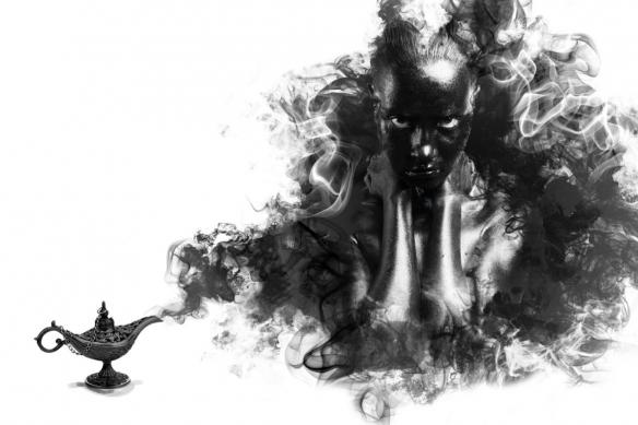 déco noir et blanc tableau moderne génie de la lampe
