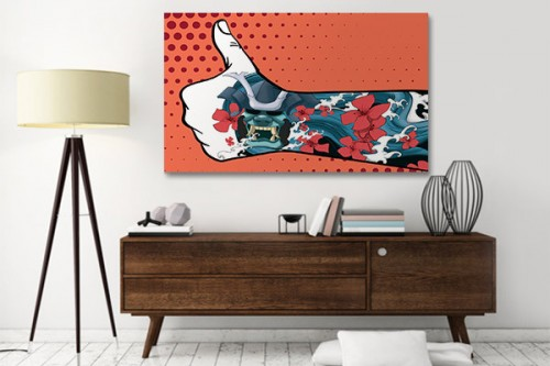 tableau art moderne tatoo japonais orange