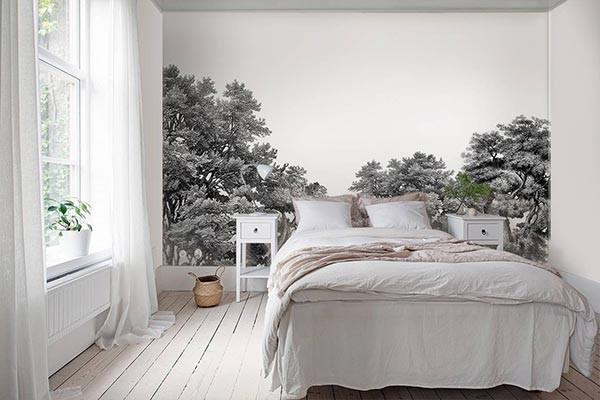 papier peint for t noir et blanc d co anglaise. Black Bedroom Furniture Sets. Home Design Ideas