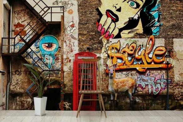Papier peint graffiti Bambitch