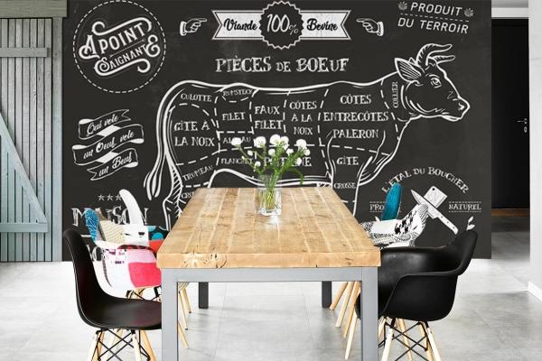 Papier Peint Pour Cuisine Pièces De Bœuf : Décoration Cuisine Moderne