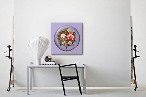 Toile murale Arbre fleurs boule de verre