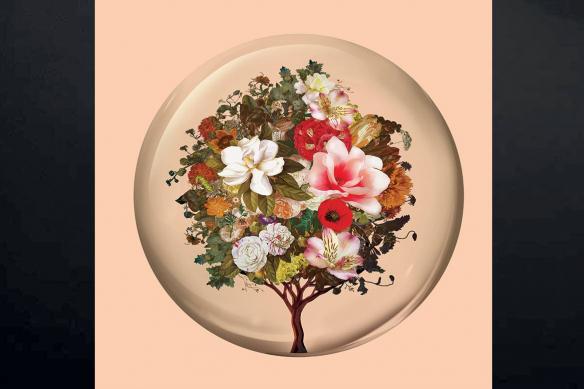 toile imprimée déco nature arbre fleurs orange
