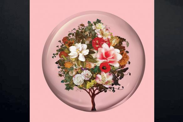 tableau scandinave rose arbre fleurs