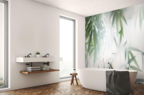Papier peint salle de bain Bambou lumineux
