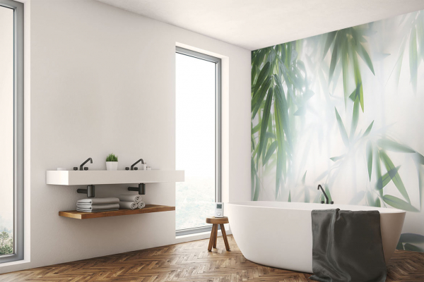 Papier peint salle de bain Bambou lumineux : déco zen