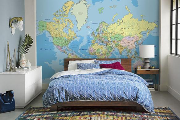 papier peint chambre carte du monde