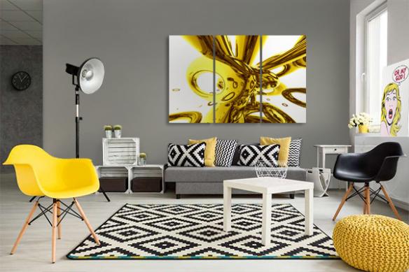 toile triptyque abstrait jaune