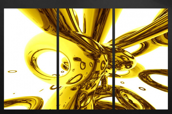 tableau triptyque abstrait design jaune