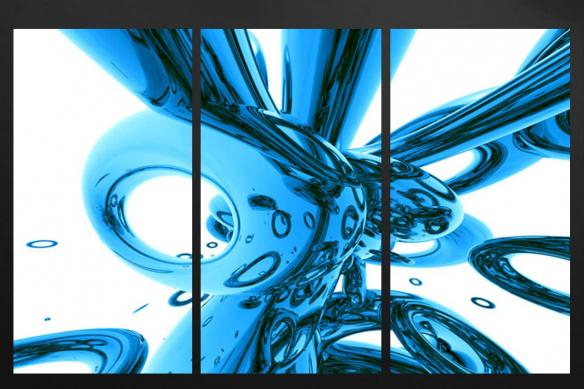 cadre triptyque abstrait bleu ciel