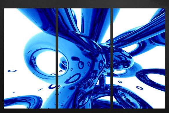 tableau triptyque mural contemporain bleu