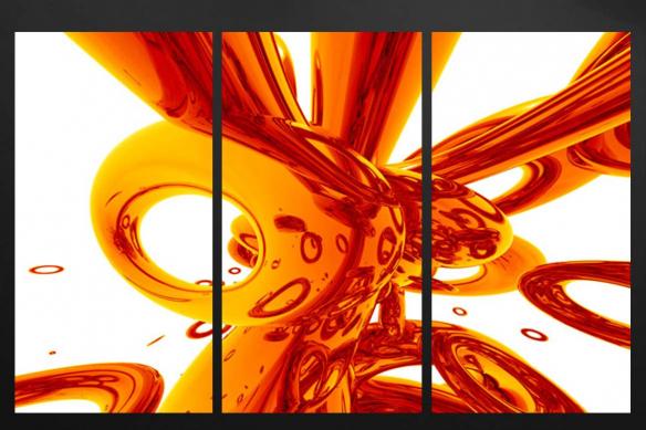 triptyque tendance abstrait orange
