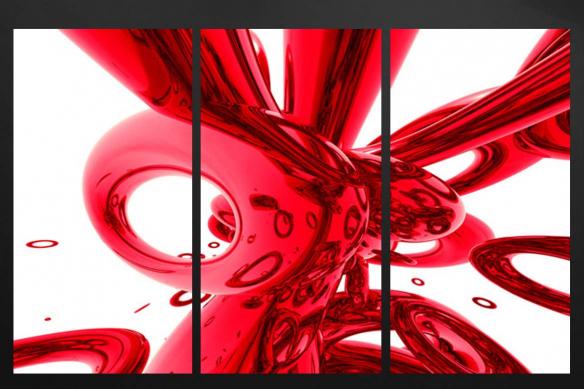 tableau triptyque moderne abstrait rouge