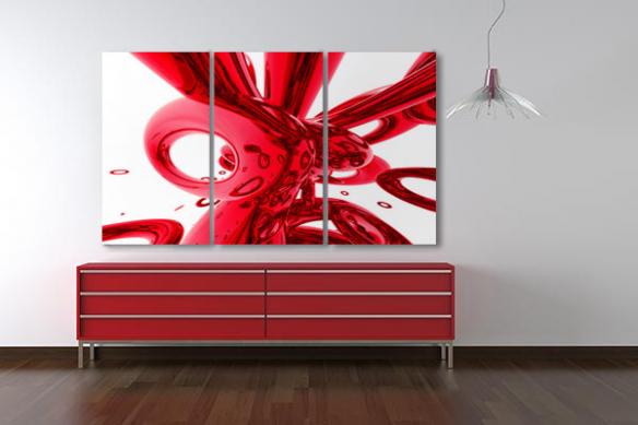 décoration murale moderne triptyque abstrait rouge