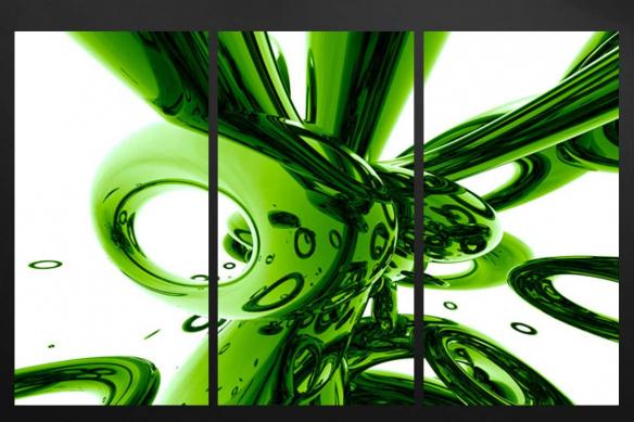 triptyque abstrait vert
