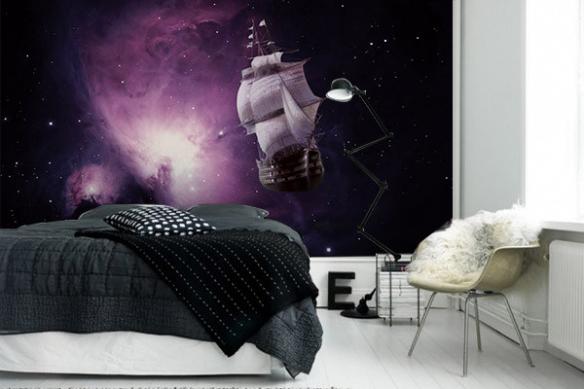 papier peint chambre bateau galaxie