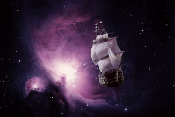 poster mural bateau galaxie violet