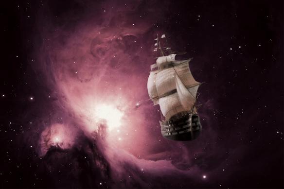papier peint original bateau galaxie rose