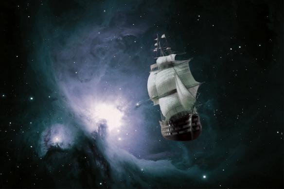 poster géant bateau galaxie bleu