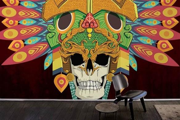 Papier peint tête de mort Crâne Aztèque