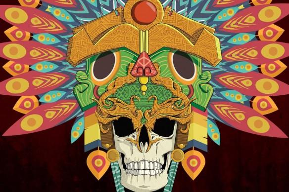 papier peint original crane azteque