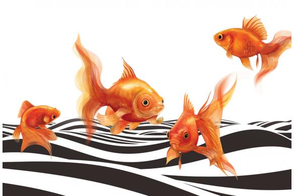 décoration murale poisson vague noire