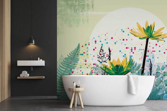 papier peint salle de bain extrait de vie vert