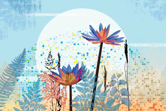 papier peint fleuri extrait de vie bleu