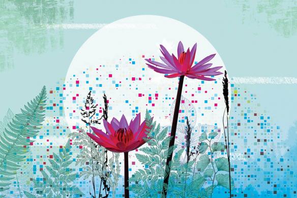 tapisserie fleur extrait de vie bleu ciel
