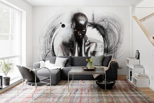 Papier peint noir et blanc graphique Noir Désir