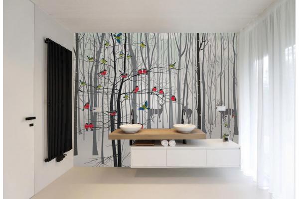 Papier peint salle de bain refuge d co nature - Papier peint pour salle de bain ...