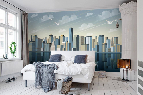 papier peint new york chambre city old