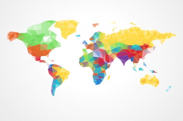 tapisserie carte du monde colorée et graphique