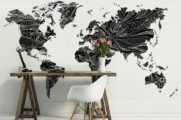 Papier peint Carte du monde noir et blanc Floral