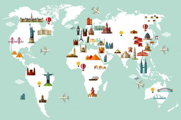 Papier peint mappemonde Monuments du Monde