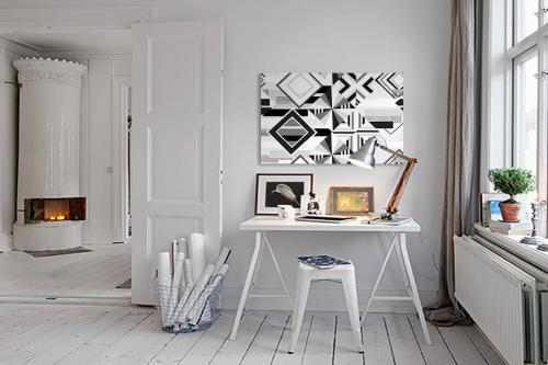 Tableau toile forme géométrique Diagonal noir et blanc