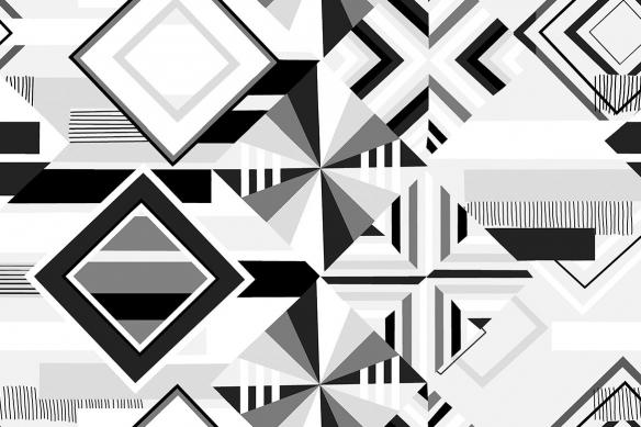 impression sur toile motif géométrique noir et blanc