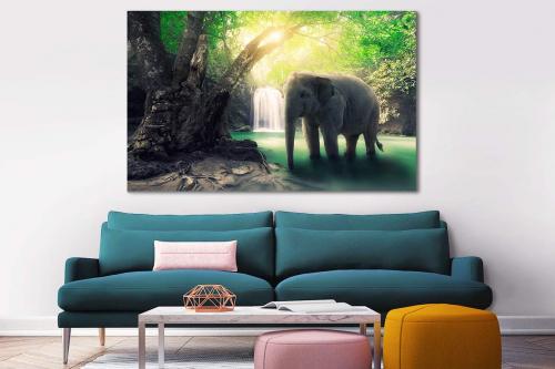 Tableau éléphant d'Asie dans la Jungle