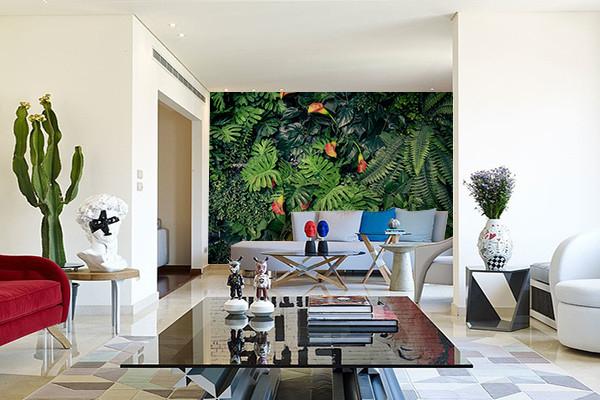 papier peint feuillage comme un mur v g tal. Black Bedroom Furniture Sets. Home Design Ideas