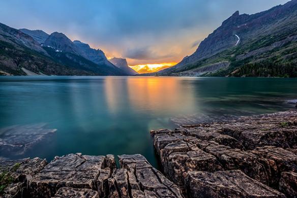 papier peint panoramique couché de soleil st mary lake