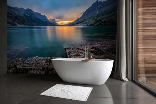 Papier peint salle de bain Couché de soleil St Mary Lake