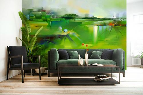 déco murale salon papier peint vert