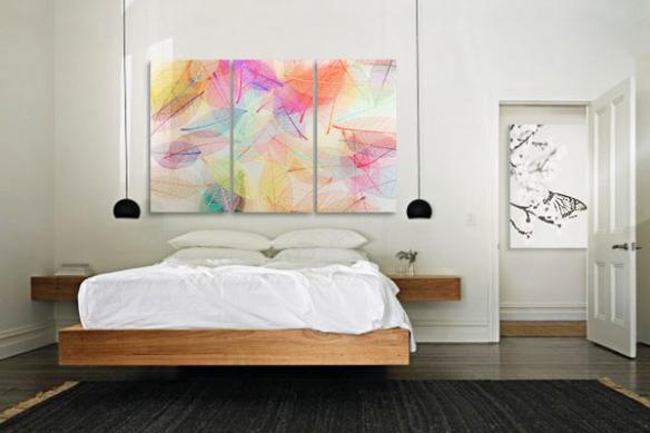 décoration chambre tête de lit triptyque folie colorée