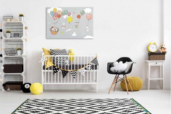 Tableau chambre bébé Famille lapins