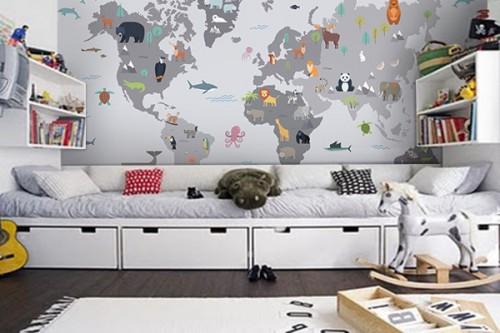 Tapisserie carte du monde animaux chambre enfant