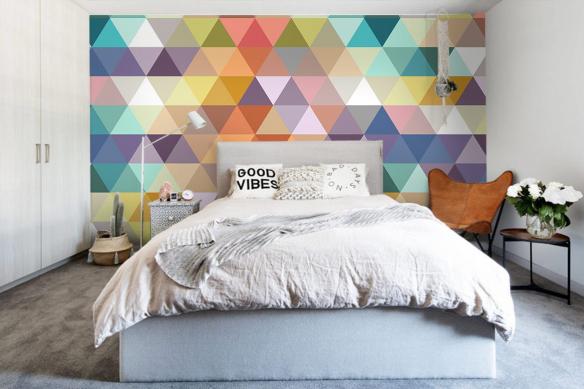 Papier peint graphique triangles pastels