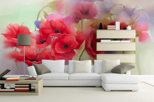 Papier peint fleuri coquelicots dessinés